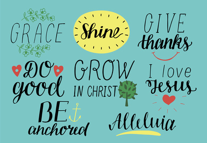 Set of 8 Hand lettering christian quotes with symbols I love Jesus. Grace. Give thanks. Do good. Grow in Christ. Be anchored. Alleluia.